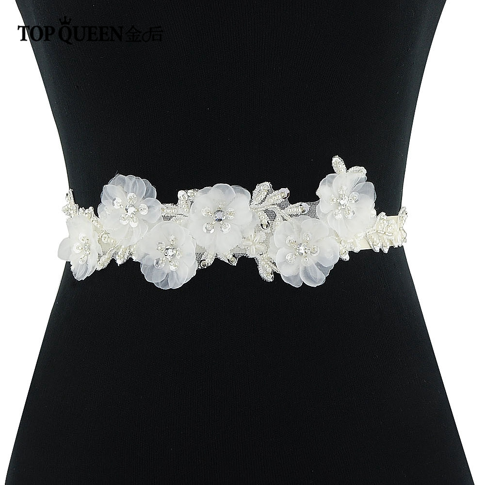TOPQUEEN Beautiful Flower Evening Party Prom Dresses Accessories Wedding Belts Sashes/Bride Waistband Bridal Sashes Belts S249