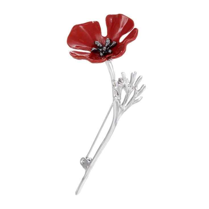 Merek BARU Mode Red Poppy Bunga Bros Pins Boutonniere Bros Kerah Pin untuk WANITA Perhiasan Antik Pria Sesuai Aksesoris