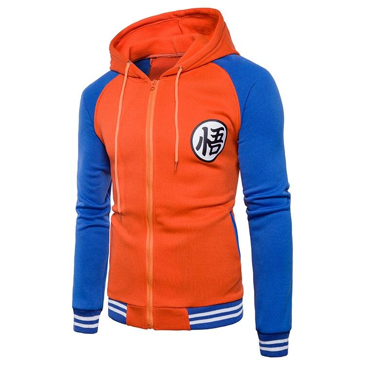 Cartoon Dragon Ball Z Goku Hoodie Sweatshirt Men Casual Slim Fit Zipper Hoodies Sweatshirts Men Hooded Baseball Jacket Overcoat
