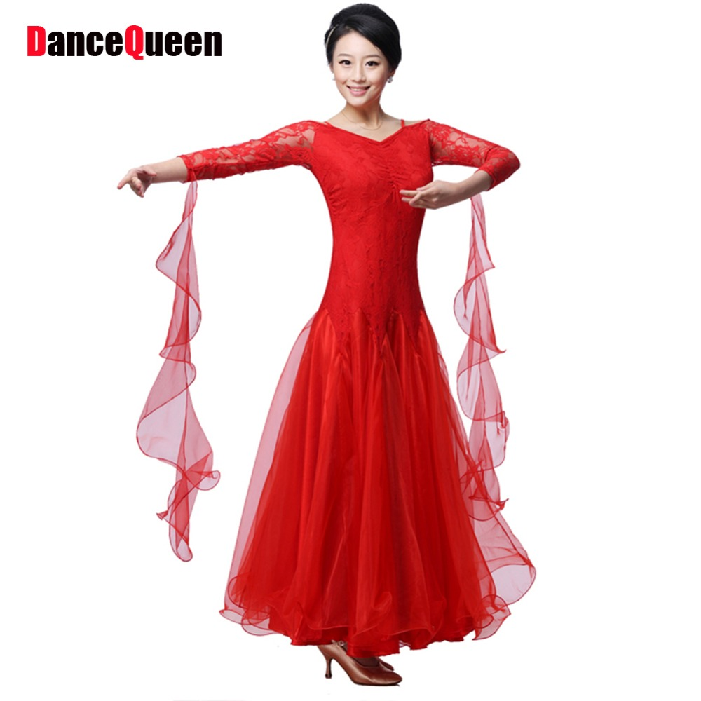 Salle de bal de danse robe lady rouge/rose/noir lulu/jazz/tango/valse concurrence robe de danse/performance marine costumes pour femmes