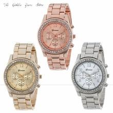Новый 2018 Relogio Feminino Reloj Mujer Для женщин часы женские 3 упак. Женева цвет серебристый, золотой и розового золота классический круглый 1220d40