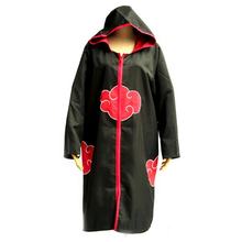 Naruto Cosplay Uchiha Itachi Hidan Akatsuki Ninja Uniform Unisex Red Cloud Logo Robe Hooded Cloak Costume