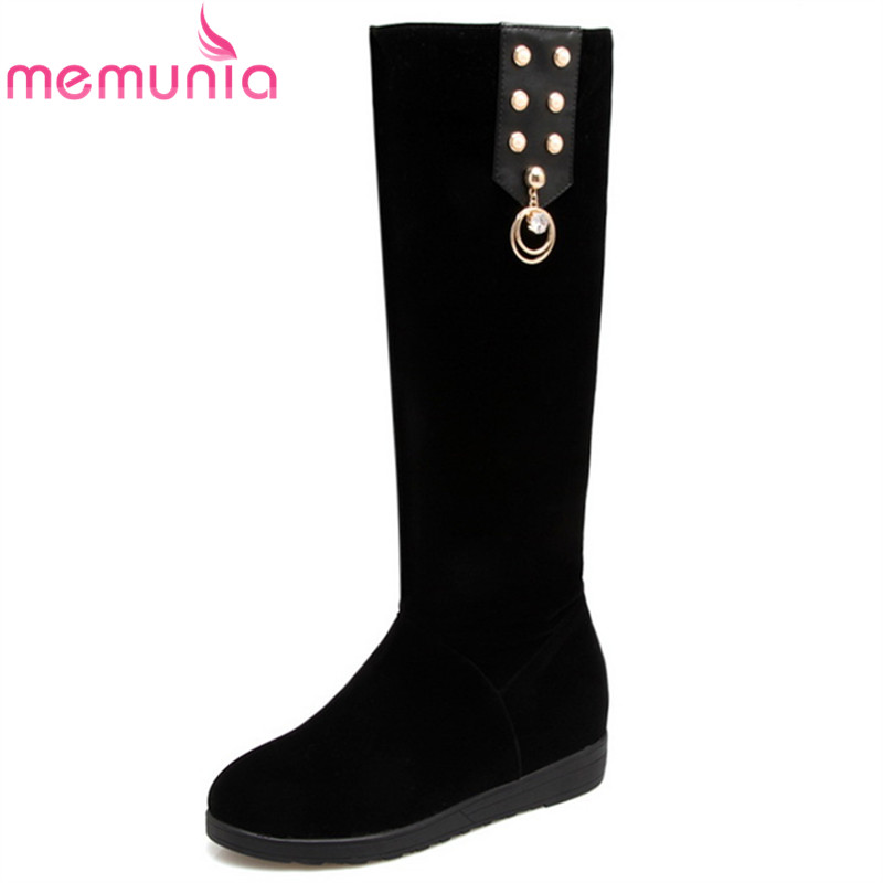 MEMUNIA fashion autumn winter new arrive women boots black flock knee high boots round toe height increasing ladies boots sexy lace spliced off the shoulder long sleeve dress for women