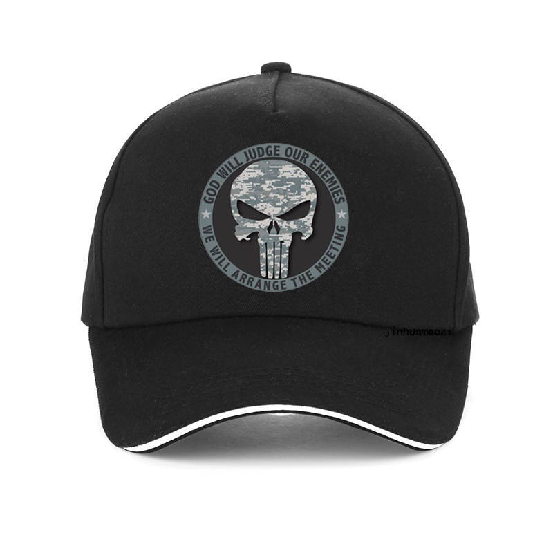 GOD WILL JUDGE OUR ENEMIES WE WILL ARRANGE THE MEETING letter   Baseball     Cap   High Quality Punisher hat Unisex Snapback hats