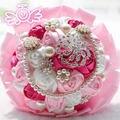 Новое Прибытие Цветов 2017 Великолепный Искусственный Шелк Цветок Брошь Высокое Качество Перл Свадебный Букет Кристалл