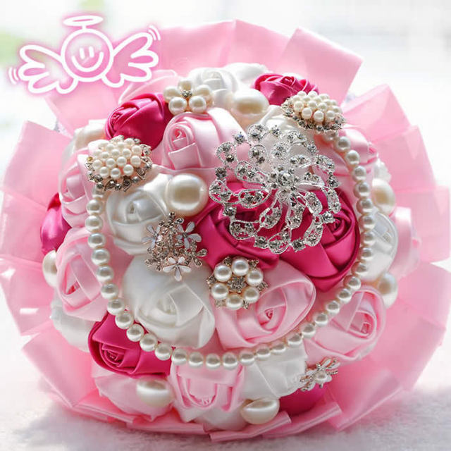 New Arrival Colors Available 2017 Gorgeous Artificial Silk Flower Brooch Of High Quality Pearl Wedding Bouquet Crystal
