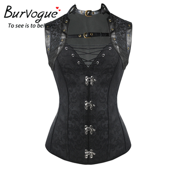 Leather Steampunk Corset Gothic Corset Waist Control Corset with Mental Buckle Overbust Waist Trainer Corset
