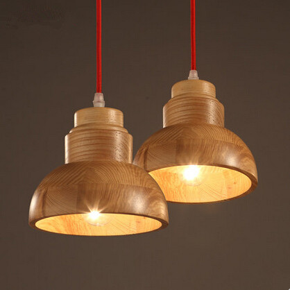ФОТО Nordic Modern Wooden Loft Insdustial LED Pendant Light With 2 Lights Fixtures For Dining Room Hanging Lamp Indoor Lighting