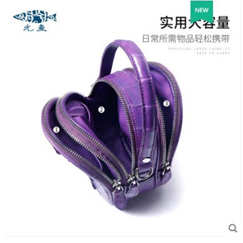 Bolso de mujer de cuero de cocodrilo yuanyu de cuero genuino importado de Tailandia bolso de cocodrilo solo bolso de hombro pequeño bolso redondo - 4