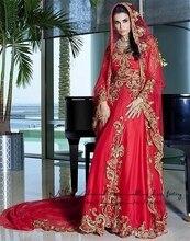Moroccan kaftan 2017 new chiffon sexy V-neck crystal mermaid red hijab muslim evening dress plus size arabic evening gowns dress