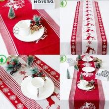 Рождественский олень настольная дорожка чайный стол флаг табличка домашняя Свадебная вечеринка Декор США