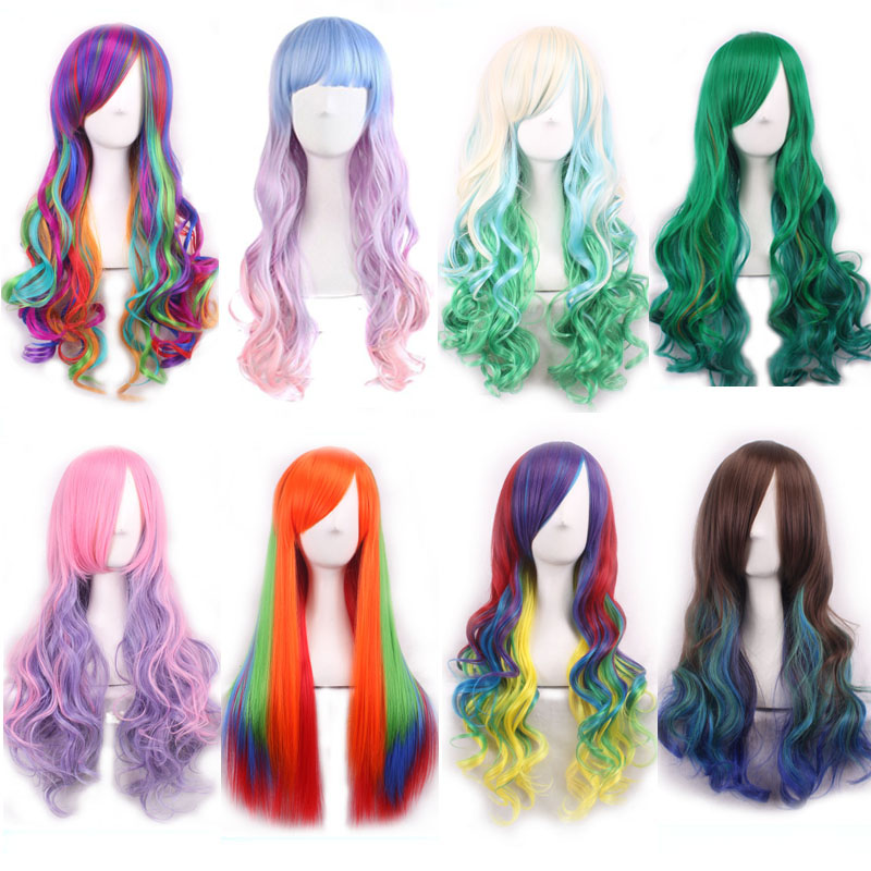 Fashion Cheap Long Wavy Straight Harajuku Lolita Ombre Wig With Bangs Synthetic Hair White Green Purple Colored Wigs For Women