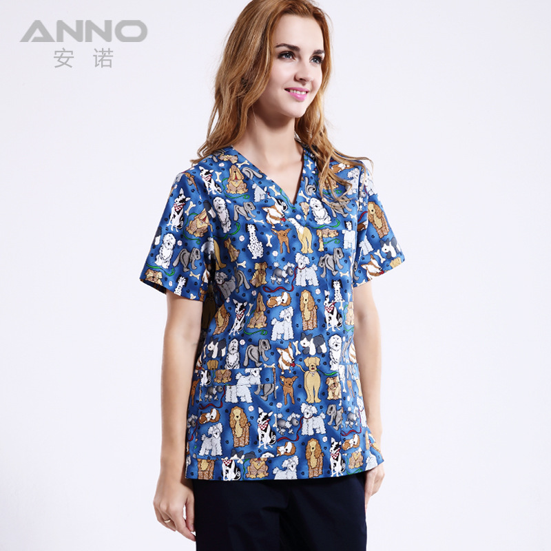 New Arrival!Pet Hospital Clinic Doctor Scrub Suit 100% Cotton Printing Light Blue Medical Operation Work Clothes Set