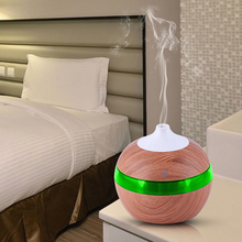 Mini Ultrasonic Air Humidifier USB Aroma Diffuser Wood Grain LED Night Light Electric Essential Oil Purifier Mist