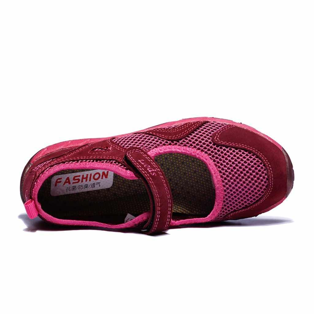 Kancoold カジュアル女性のメッシュ通気性スニーカー軽量ランニングプラットフォームスニーカーウォーキング耐摩耗性弾性靴