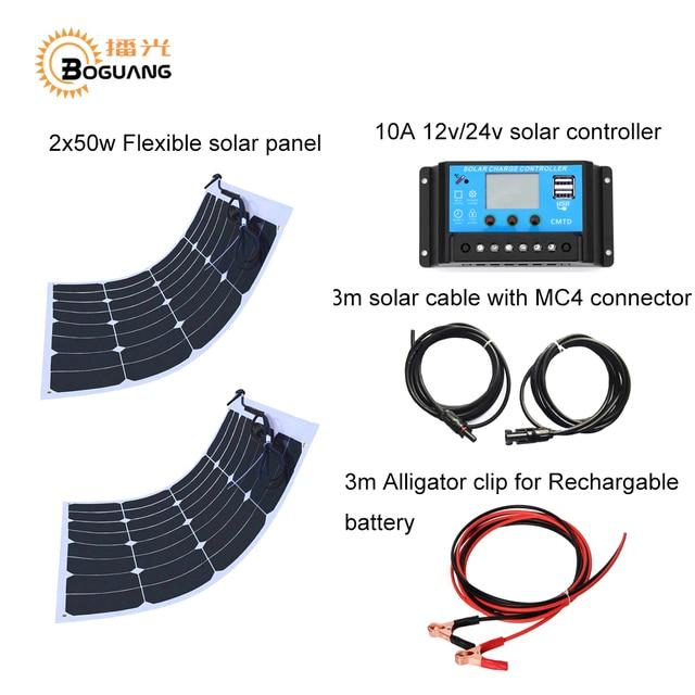 BOGUANG 2PCS 50W DIY solar system light weight flexible solar panel MONO solar modules 12V  battery USB solar panel charger