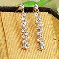 Frete Grátis Italina Rigant moda de jóias por atacado longo Brinco De Cristal Rosa Banhado A Ouro de Presente Da Menina para as mulheres