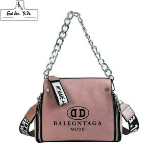Image 5 - Scrub Leather Messenger Bag 2019 New Fashion Women Handbags Letter Wide Strap Chains Design Bucket Shoulder Bag Bolsa Feminina