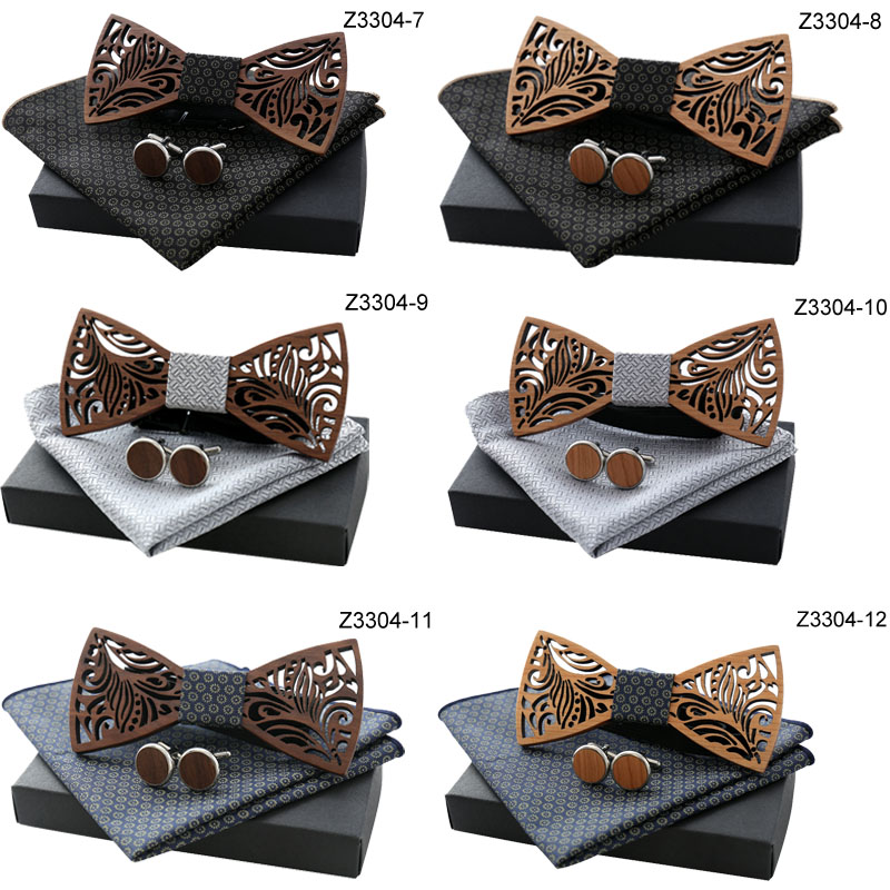 Oeientree Romantic Hollow Wood Bow Ties Bowtie With Handkerchief Cufflinks For Men New Design Christmas Gift Set