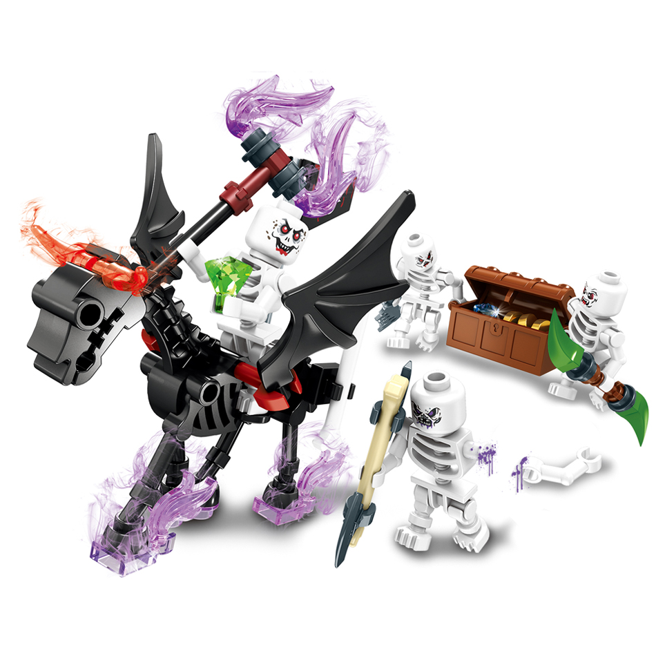 4pcs/Lots Ghost tribe Building Blocks Compatible legoed knight devil war bricks figures education Toys for children kidsgift
