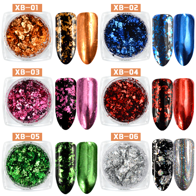 0.2g / box 6 Warna Nail Glitter Aluminium Flake Kesan Mirror Serbuk - Seni kuku - Foto 2