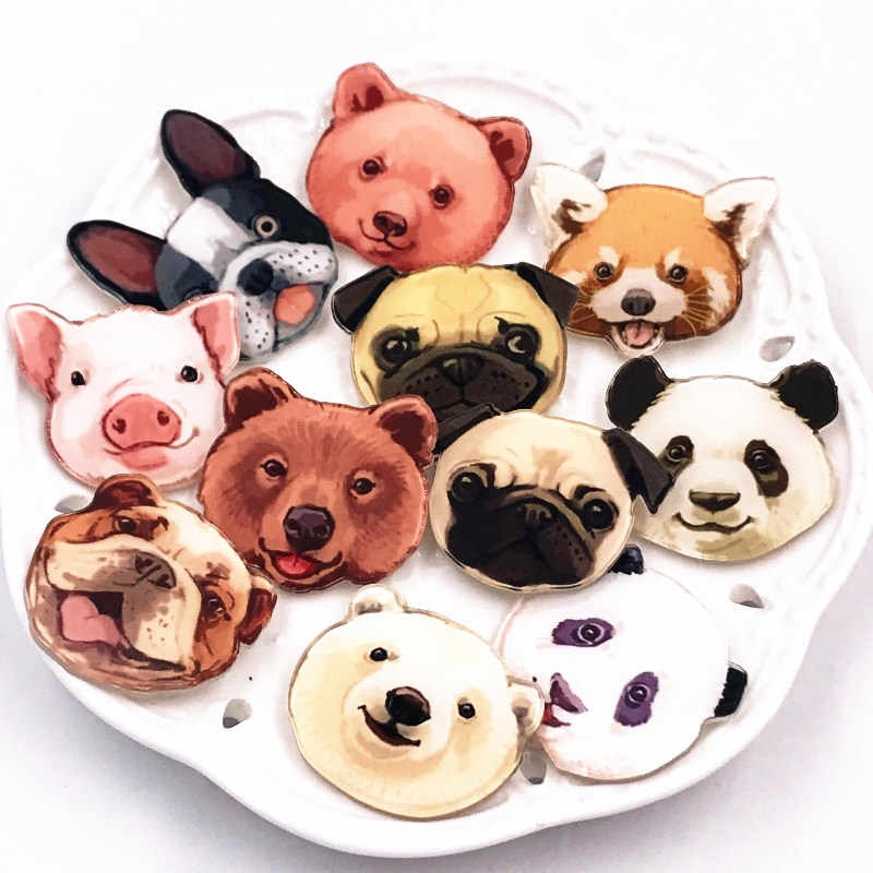 1Pcs Cute Animal Pig Dog Panda Cartoon Pins and Brooches for Women Men Lapel Pin Backpack Bags Badges Kids Gifts Toys