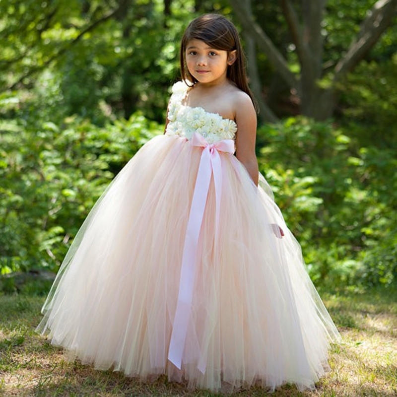 Beige and Pink Princess Tutu Dress Flower Girl Dresses Baby Kids Girls Tulle Dress For Pageant