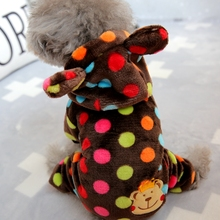 Clothing Overalls Pet-Puppies Dogs Small Winter Bear Animal for York Colorful Dots Warm