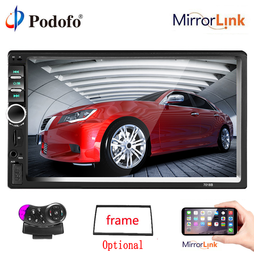 Podofo 2 din Car Multimedia Player Autoradio 2din Stereo 7 HD Touch Screen Video MP5 Player Car Auto Radio TF USB FM Bluetooth podofo 2 din car radio 7 hd audio stereo bluetooth multimedia player mp5 usb sd fm 2din touch screen autoradio rearview camera