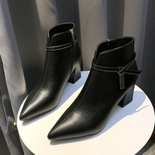 2019 Fashion Women 7cm High Heels Fetish Zip Boots Leather Block White Sock Ankle Chunky Shoes Pointed Toe Pumps