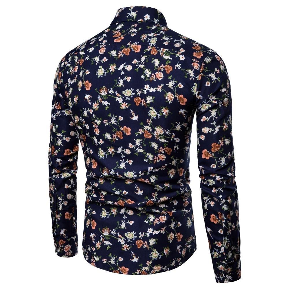 snowshine YLW Men's New Pattern Casual Fashion Lapel Printing Long Sleeved Shirt free shipping 2