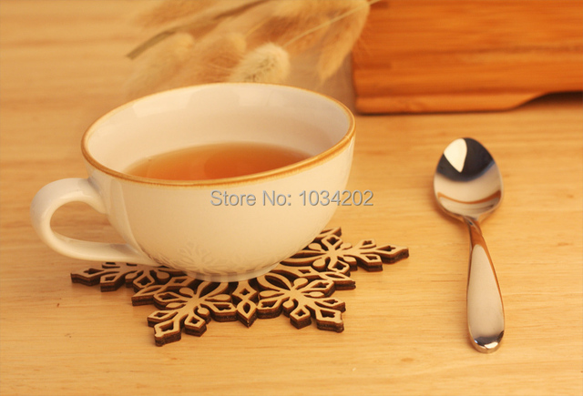 500pcs Snowflake Wood Mug Coasters Drink Tea Cup Mat Vintage Dinner  Placemats Table Decorations Great Gifts