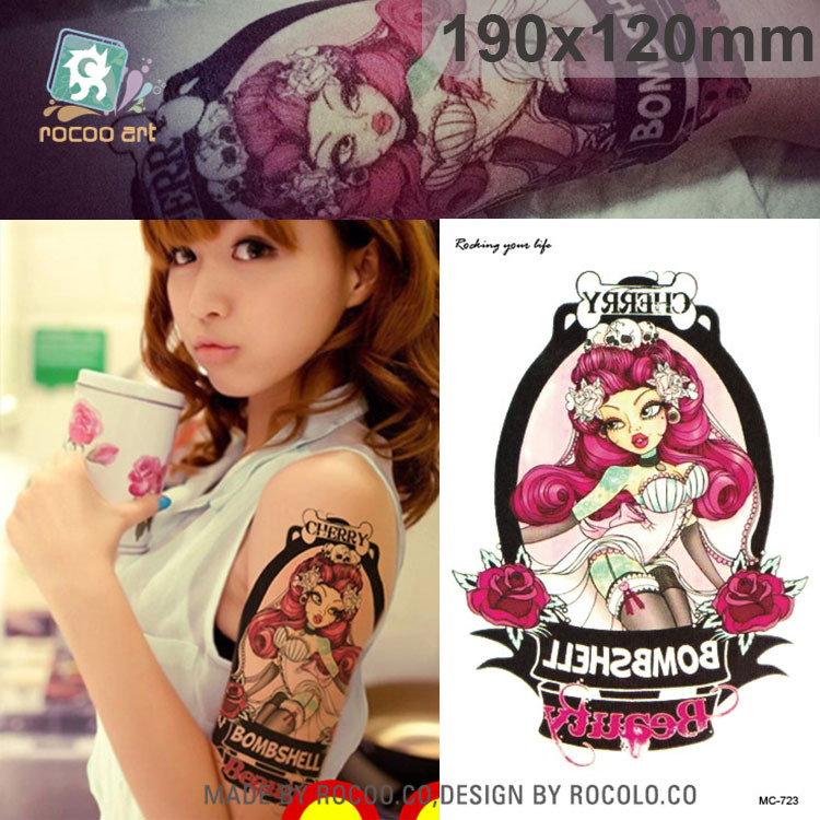 individuality waterproof temporary tattoos for men and women Wolf roar design large arm tattoo sticker Free Shipping SC2908 8