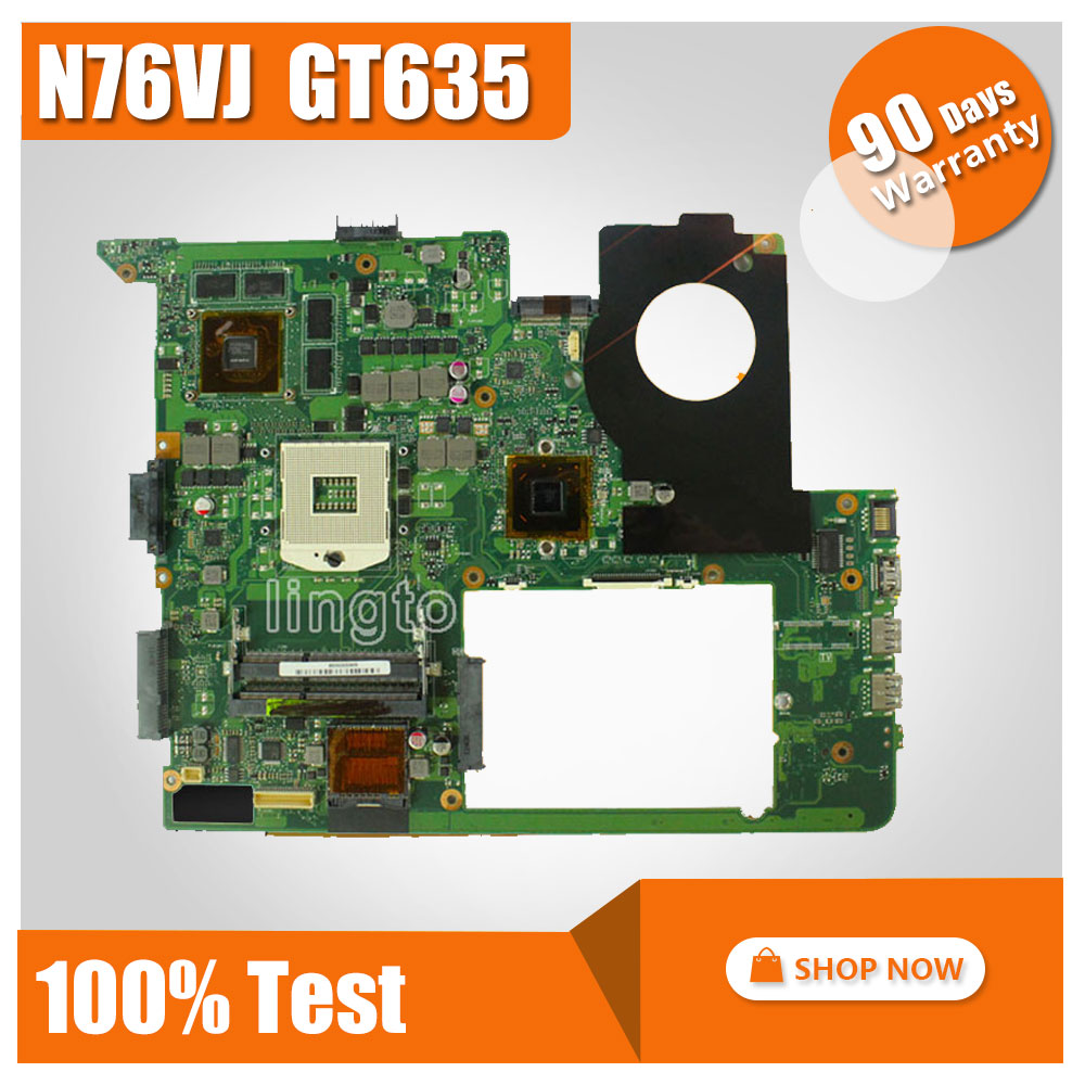 For ASUS N76VJ N76VB N76VZ N76VM N76V REV:2.2 Laptop Motherboard 2GB USB3.0 GT635M tested working for asus n76v n76vm n76vj n76vz laptop motherboard rev 2 2 pga989 with graphic full test
