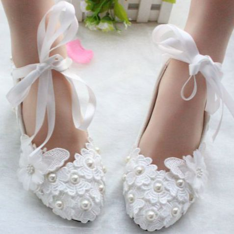 White lace flowers wedding shoes woman handmade low high heels sexy satin riband straps bridesmaid shoes