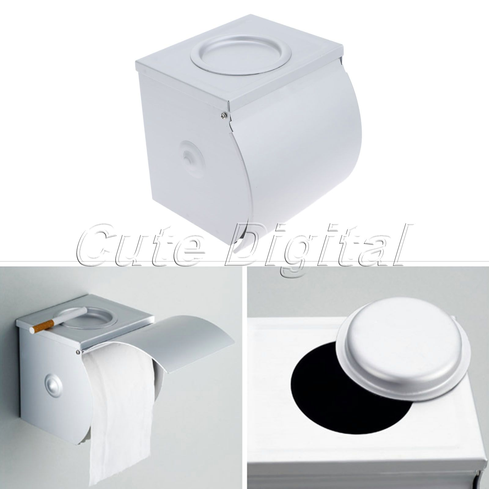 Bathroom Paper Box Wall Mounted Space Aluminum Waterproof Toilet Roll Tissue Paper Holder and Dispenser Hanger with Ashtray space aluminum paper holder roll tissue holder hotel works toilet roll paper tissue holder box waterproof design