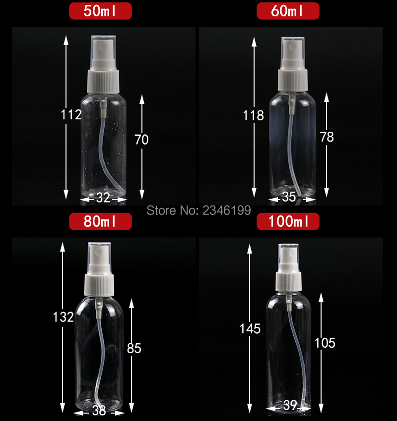 Plastic Spray Bottle 80ml Transparent Spray Pump Bottle 50ml Empty Plastic Cosmetic Container 100ml Spray Bottle 20ml 10ml