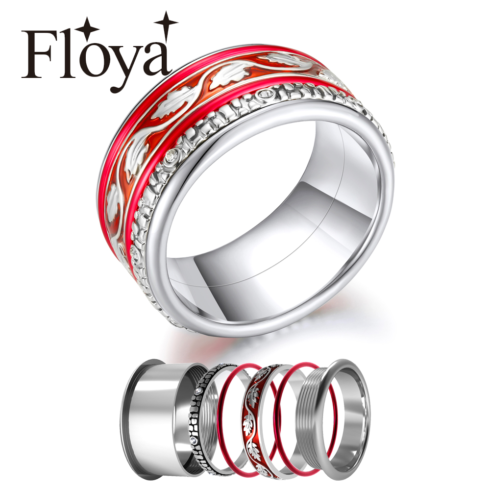Floya Filled Stackable Rings Set For Women Red Enamel Leaf Base Accessories Multi Stainless Steel Band Wedding Ring Jewelry in Rings from Jewelry Accessories