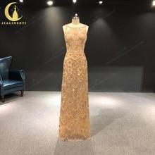 JIALINZEYI gerçek görüntü lüks altın tam el boncuk kristal seksi Backless kat uzunluk resmi elbiseler akşam elbise 2019