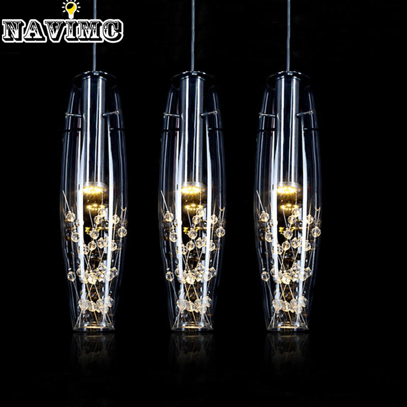 Modern Stainless Steel  LED Lights Fixture Creative Restaurant Crystal Pendant Lamp For Dining Room Lustres De Teto Luminaire hot selling perforated lustres de teto european luxury double helix stair pendant lights 100% crystal guarantee