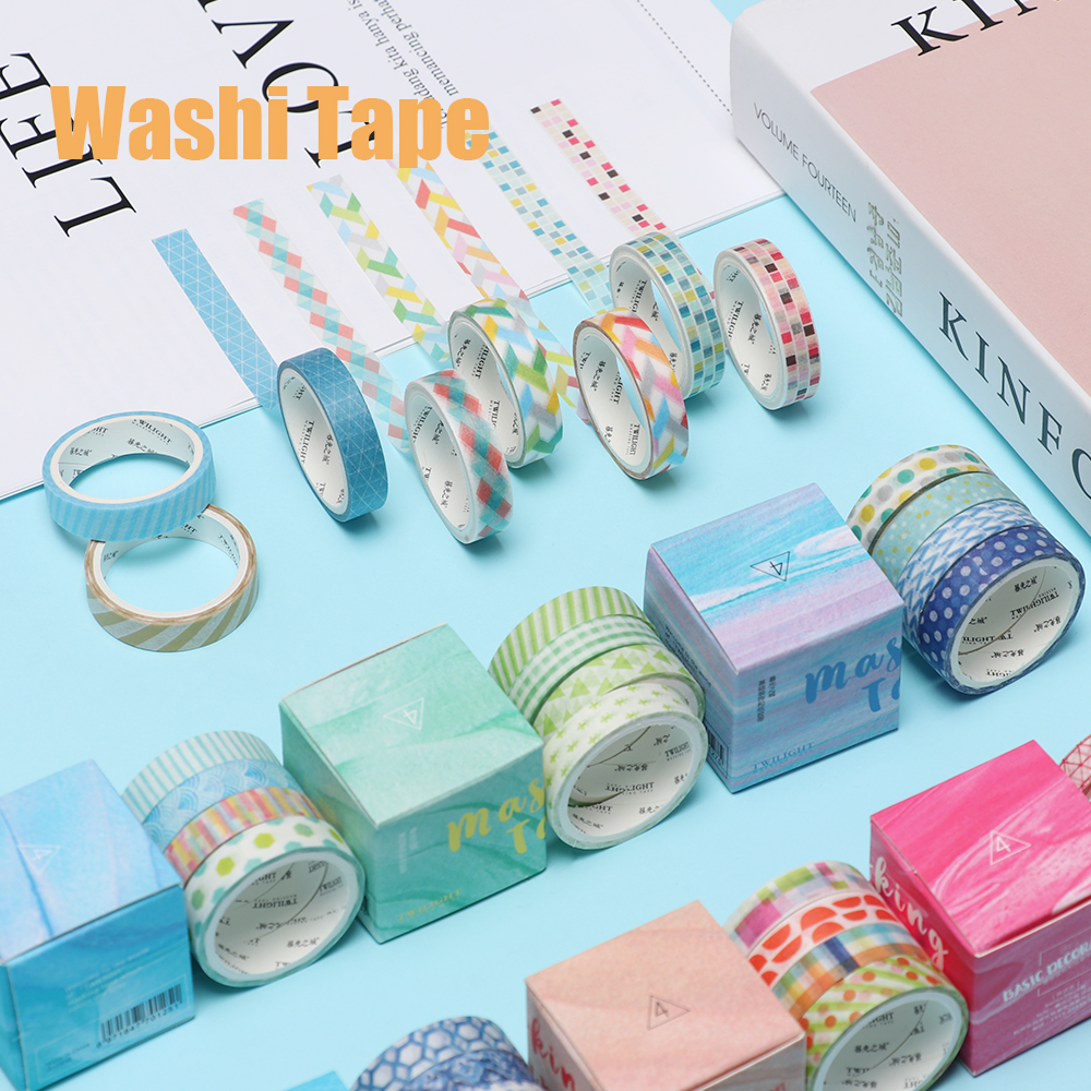 Colorful 4Pcs/Box Square Grid Washi Tape DIY Decoration Scrapbooking Planner Masking Tape Adhesive Tape Label Sticker packaging and labeling