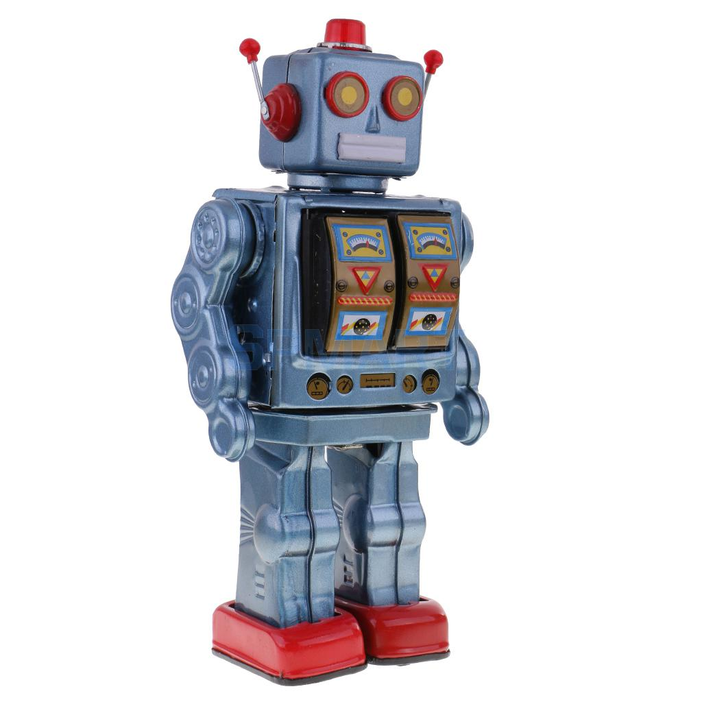 Retro Vintage Baterías Operado Caminar Mecánica Electrónica Robot Tin Toy Coleccionables Niños Niños Adultos Juguetes Regalos - 2
