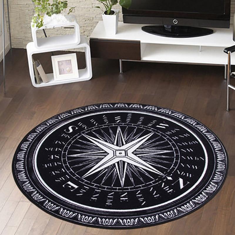 Black White Letter Highway Compass Pattern Round Carpet Non Slip Living Room Bedroom Sofa Rug Washable