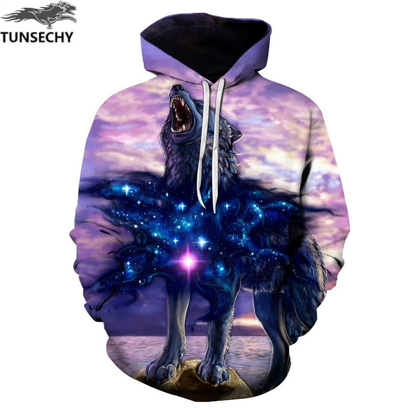 TUNSECHY Fashion Men Wolf Animal 3D Printed Hooded Hoodies Men/women Shinning Wolf Design Sweatshirts 3D Harajuku Hoody