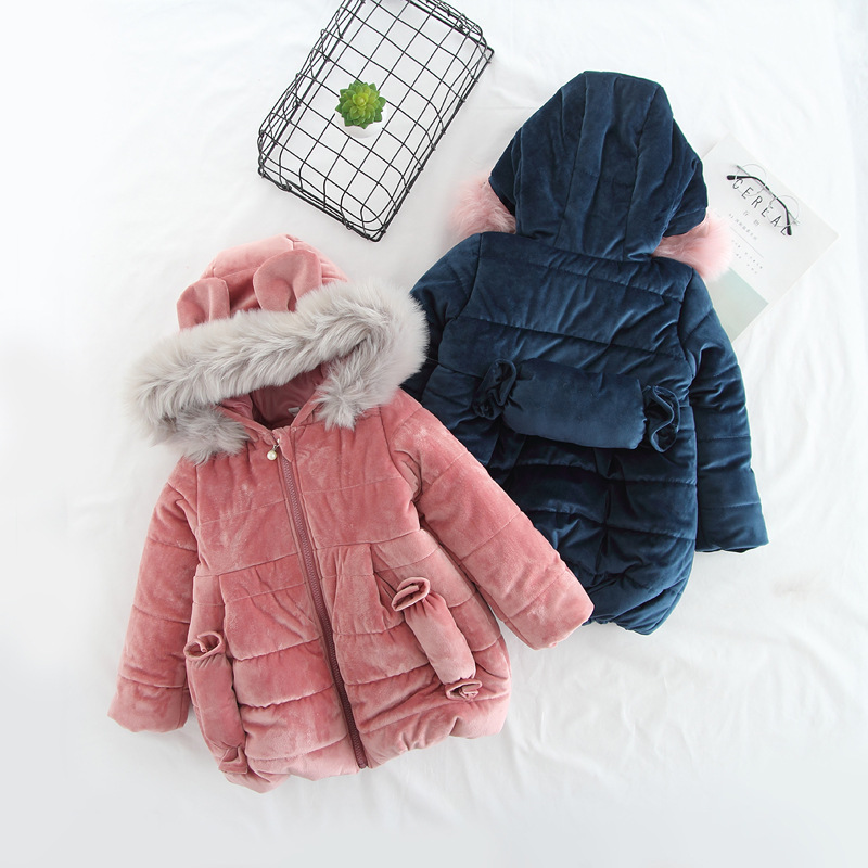 DFXD Winter Children Girls Long Jacket High Quality Fashion Big Fur Collar Soild Hooded Cotton Padded Coat Thick Velvet Outwear hot sale new 2014 women winter fashion md long thick slim big fur collar hooded plus size belt cotton padded casual jacket lj434