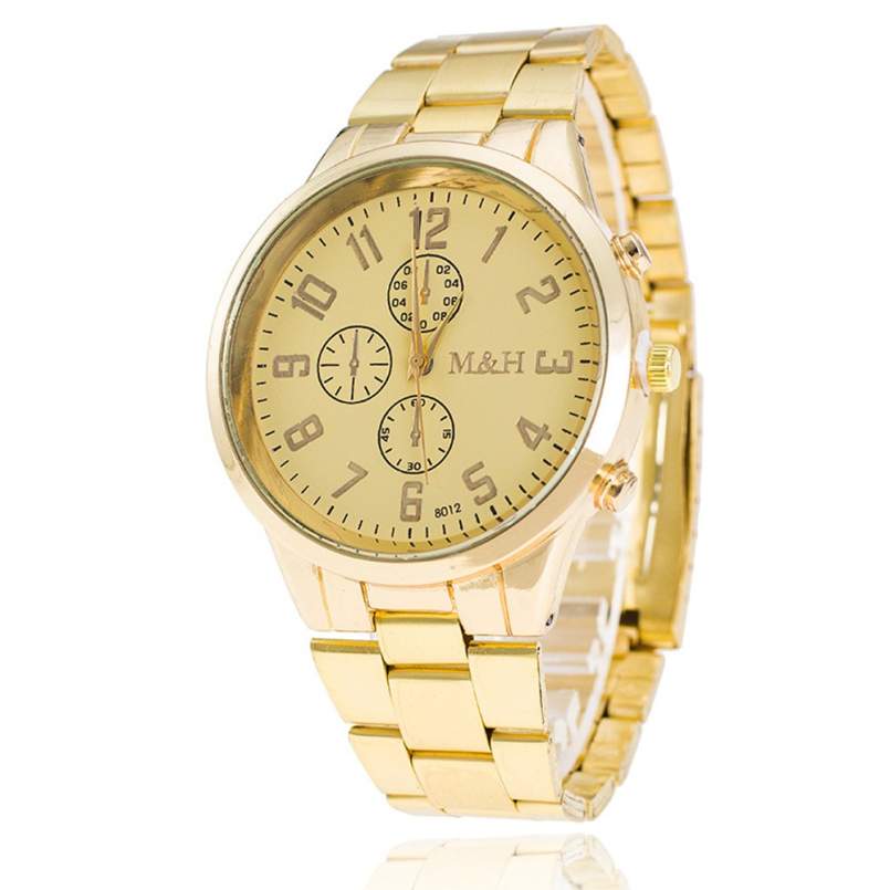 Excellent Quality Luxury Mens Watches Luxury Gold Brand Men Quartz Watches Full Steel Casual Quartz Wristwatches Clock