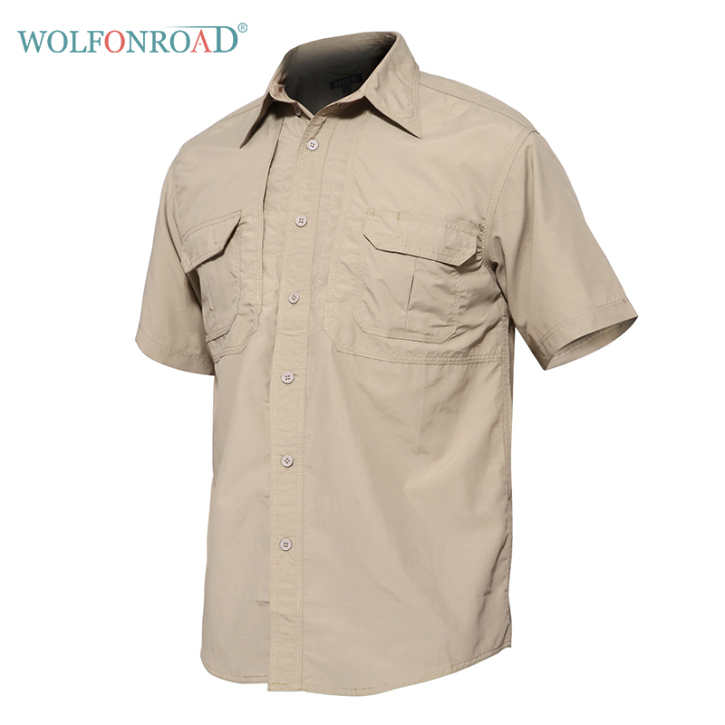 WOLFONROAD Hiking Shirt Short-Sleeve Combat Tactical Outdoor Quick-Dry Male Waterproof