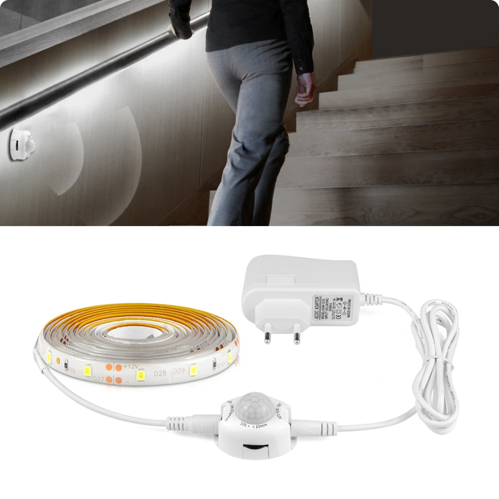 Lighting Basement Washroom Stairs: 1M 2M 3M 5M Motion Sensor LED Strip Light Waterproof