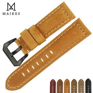Image 4 - MAIKES جديد الساعات 22 24 26 مللي متر الرجال الأسود جلد طبيعي حزام (استيك) ساعة اليد اكسسوارات ل بانيراي أو سامسونج gear s3