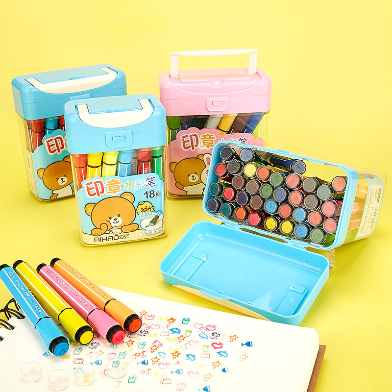 Kawaii 12/18/24/36 Colors Watercolor Pen Cute Washable Water Marker Pens With Stamps For Painting Anime Manga Drawing Art Supply kawaii manga adorable